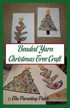Beaded Yarn Christmas Tree Craft