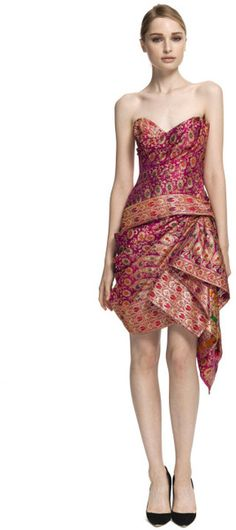 Marchesa Strapless Sari Cocktail Dress in Pink (pink/multi) | Lyst - now I know what to do with all my old sarees