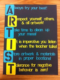 art room safety   found this one on Pinterest here: ARTIST poster
