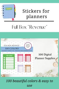 Revenue Planner Sticker, Full Box Weekly Revenue Boxes S Planner, Planner Supplies, Printable Stickers, Planner Stickers, Box Design, Free Design, Spending Tracker, Journal Cards, Resume Templates