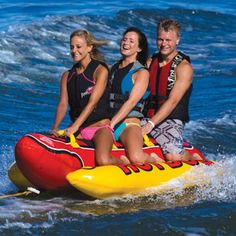 This Airhead Hot Dog towable has enough leg   room for up to three riders. This towable is also equipped with six deluxe handles with neoprene knuckle   guards and a Boston valve system for easy inflating and deflating. $173.88