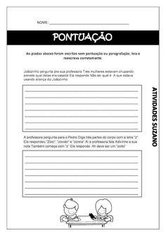 Pontuação - Atividades Adriana Learn Portuguese, Teaching, Education, Natural, Punctuation Activities, Writing Activities, Sheet Music, Index Cards, Literature