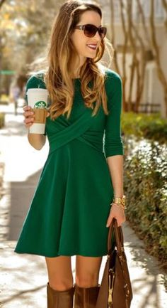 Love this green! Too short for work but very flattering and simple!