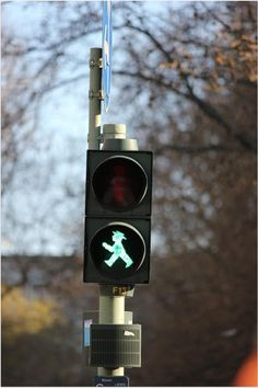 When you´re in the Estern part of Berlin check out the lights of the pedestrian crossing! This little guy is called the 'Ampelmann'.