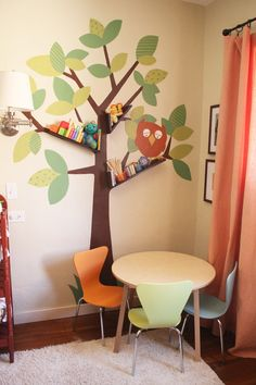 Cheerful Chat Room for Kids with Pleasant Color Composition: Contemporary Chat Room For Kids Decor Idea With Tree Wall Decal And Bookshelf Design Above The Study Nook Desk And Slim Chair ~ SFXit Design Kids Room Inspiration
