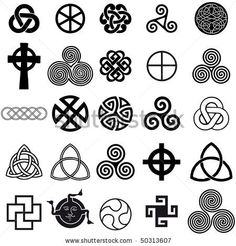 Celtic Knot Tattoos on Stock Vector Set Of Celtic Symbols Icons Vector Tattoo Design Set Celtic Symbols And Meanings, Celtic Tattoo Symbols, Celtic Tattoos, Celtic Art, Ancient Symbols, Love Symbols, Celtic Runes, Celtic Crosses, Irish Symbols