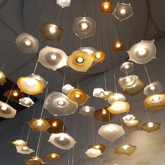 Each handblown Bohemian glass has an integrated LED module, individually powered glass pieces can come either directly from the gypsum ceiling (no visible base) or to be a part of a surface finish based chandelier with an added benefit of having the light inside of the glass. Transparent electrical cables or other colour variations allow transformation to a large scale design. Other customisations available Ceiling Fixtures, Ceiling Lamp, Light Fixtures, Ceiling Lights, Modern Lighting, Lighting Ideas, Gypsum Ceiling, Scale Design, Diy Chandelier