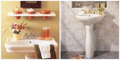 storage for pedestal sink bathrooms!!