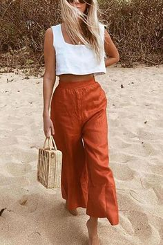 Chic spring and summer outfit Latest Fashion Design, Love Fashion, Fashion Outfits, Fashion Souls, Hippie Chic Fashion, Spring Summer Fashion, Spring Outfits, Summer Pants Outfits, Summer Fashion Trends