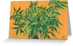 """""""""""Ash-tree"""", green & yellow, floral art"""" Greeting Cards by clipsocallipso   Redbubble"""
