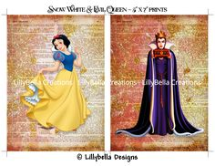 Items similar to Snow White and Evil Queen Dictionary Digital Art Prints ~ x ~ Good & Evil, Princess and Villian on Etsy Disney Girls, Disney Art, Disney Princess, Snow White Evil Queen, Seven Dwarfs, Disney Marvel, Forest Animals, Disney Style, My Images