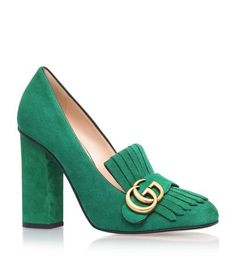 GUCCI Marmont Fringed Loafer Heel. #gucci #shoes #