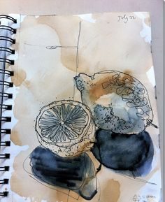Today I was feeling a bit bolder, so following Sian's new tip for day Four I used a felt pen on a wet page and let it go! Textiles Sketchbook, Gcse Art Sketchbook, Sketchbooks, Watercolor Sketchbook, Observational Drawing, Tinta China, Sketchbook Inspiration, Sketchbook Ideas, A Level Art