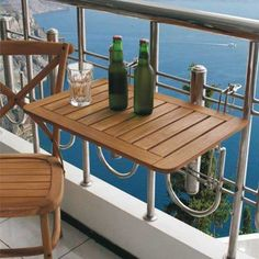 55 Mini Bar On Balcony Design Ideas - Moveis varanda - Balkon Shower Grab Bar, Narrow Balcony, Balcony Flooring, Mesa Exterior, Balkon Design, Balcony Furniture, Outdoor Furniture, Small Coffee Table, Small Tables