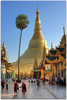 Shwedagon Pagoda, Yangon, Burma, Myanmar (ex Birmania) Yangon, Places Around The World, Travel Around The World, Around The Worlds, Places To Travel, Places To See, Travel Destinations, Vacation Travel, Vacations