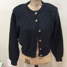 """Liz Wear black sweater Black Liz sweater. Tightly woven"""" very warm and stylish.  Front of sweater has flier cable knitting, see pic. Super cute! Liz Wear Sweaters"""