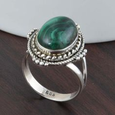 925 SOLID STERLING SILVER MALACHITE RING JEWELLERY 6.04g DJR5313 #Handmade #Ring