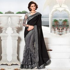 Buy Jazzy Black-Grey Colored Party Wear Embroidered Lycra & Net Saree at Get latest Partywear saree for womens at Peachmode. Net Saree, Online Fashion Stores, Beautiful Saree, Club Dresses, Affordable Fashion, Party Wear, Black And Grey, Two Piece Skirt Set, Clothes For Women