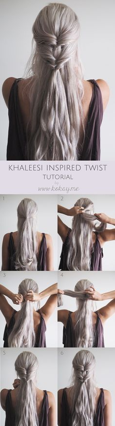 Khaleesi inspired twist tutorial. Check out more tips for hairdos and amazing hairstyles at http://unique-hairstyle.com/hairstyles-for-long-hair-for-wedding-autumn-2015/