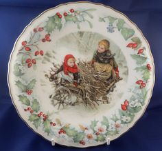 Christmas plate, V and A museum, Wedgwood bone china, times gone by, 1990 Christmas, with certificate, children getting wood,  snowy scene by MaddisonsRainbow on Etsy