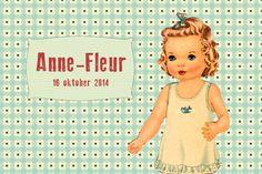Geboortekaartje meisje - Anne-Fleur - retro - Pimpelpluis - https://www.facebook.com/pages/Pimpelpluis/188675421305550?ref=hl (# retro - popje - vogel - vintage - paper doll - lief - schattig - origineel)