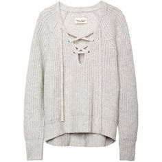 LACE-UP V-NECK SWEATER found on Polyvore featuring tops, sweaters, jumpers, shirts, cashmere sweaters, cashmere v neck sweaters, lace up front top, v-neck tops and white top