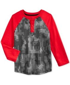 Epic Threads Little Boys' Digi-Stripe Henley, Only at Macy's  - Red 5