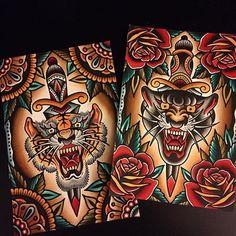 Traditional Tiger Tattoo, Traditional Tattoo Old School, Traditional Tattoo Design, Neo Traditional, American Traditional, Body Art Tattoos, Tattoo Drawings, Sleeve Tattoos, Leg Tattoos