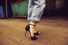 Ankle strap stilettos + boyfriend jeans.