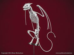 Horned Wyvern Dragon Skeleton with Perch 3D by MythicArticulations