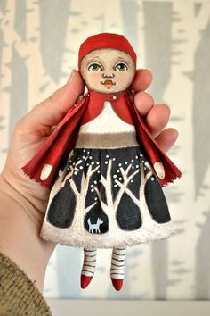 Itty Bitty Little Red Riding Hood. Painted cloth.