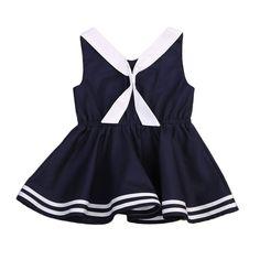 b746b3329e4 New Summer Hot Fashion Sleeveless Costume Baby Kid Girl Tutu Cute Dress  Cool Tie Party Princess Wedding Sailor Collar Dresses. Kids Footlocker
