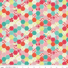 Happy Hexi Multi (Hexagon Quilt) - So Happy Together by Riley Blake - Multi - 1 yard, Additional available Retro Fabric, Modern Fabric, Vintage Fabrics, Fat Quarters, Ribbon Retreat, Scrap, Hexagon Quilt, Hexagons, Happy Together