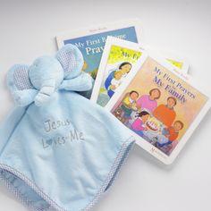 Unique Catholic Baptism Christening Baby Gift - My First Prayers Book & Lovie Gift Set   Coming Up Catholic