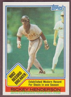 1983 Topps Rickey Henderson Baseball Card for sale online Baseball Records, Rickey Henderson, Baseball Cards For Sale, 9 Year Olds, Seattle Mariners, Athlete, Kids, Buy Basketball, Shoes Online