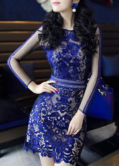 Charming Long Sleeve Mesh Splicing Dress with Lace - USD $76.43