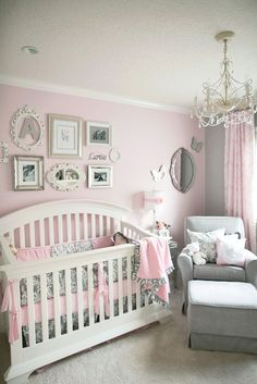 Soft and Elegant Gray and Pink Nursery - beautiful, glam and classic! #baby #nursery #decor