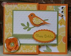 handmade card ... bright and sunny ... yellow, orange and olive ... two step bird punch ... patterned papers ... fun fold design ... Stampin' Up!