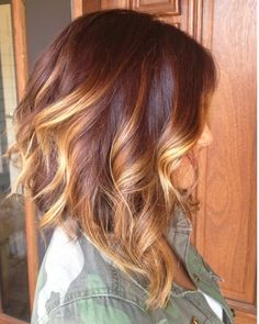 Long brunette a-line bob with balayage highlights and loose curls.Discover 20 more summer Hair Color With Highlights.