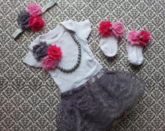 Baby Girl, Newborn Take Home Outfit, Socks, Floral Headband, Grey Lace Skirt, Pink Flowers, Bead Necklace, Keepsake, Hospital Photo Shoot