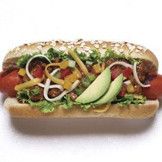 Garden-Style Chili Dogs - never thought about putting that much stuff on a hotdog before...interesting