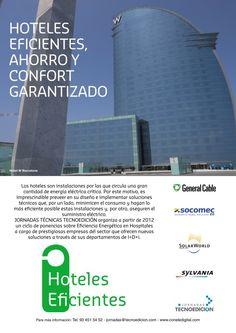 Anuncio publicado en la revista DISTRELEC sobre las jornadas Hoteles Eficientes realizadas en 2012 con la participación y patrocinio de las empresas SolarWorld, Havells Sylvania, General Cable y Socomec.