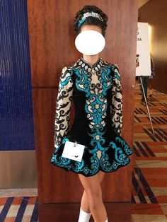 Amazing Turquoise Elevation Design Irish Dance Dress Solo Costume For Sale
