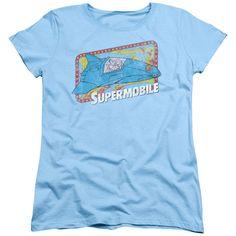 Superman Supermobile Light Blue Womens T-Shirt