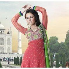 $114.99 Peach Net Faux Georgette Designer Anarkali Salwar Kameez