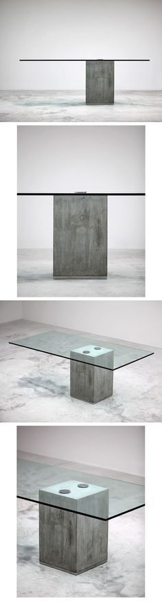SERGIO AND GIORGIO SAPORITI dining table. Italy, c. 1970-80 cast concrete, glass, chrome-plated steel, stainless steel 78.25 w x 39.25 d x 28.75 h inches. / bontool.com