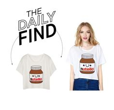 """Daily Find: White Fashion Nutella T-Shirt"" by polyvore-editorial ❤ liked on Polyvore featuring DailyFind"