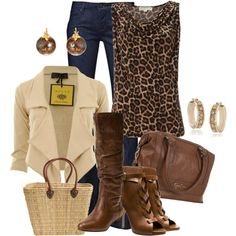 Love the drape front on the jacket ...animal print and denim, works every time - Polyvore