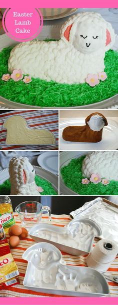 How to make and decorate a traditional 3D standup Easter lamb cake - what a cute Easter dinner dessert! #easter #cake #diy #lamb #3dcake