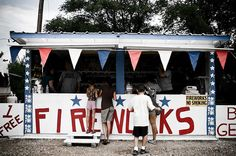 Firework stands and then fireworks in the street later. HATE.
